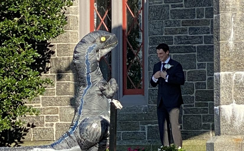 A castle, a micro wedding, and a T-Rex